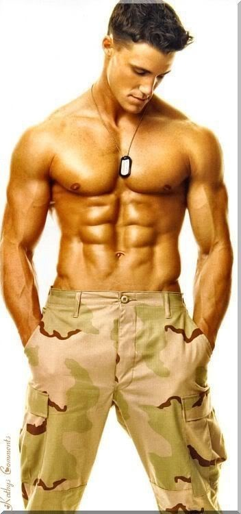 His abs almost don't look real.... we need a taste test - shit, feel test - we need a feel test up in here..... Yea. #HunkDay #SaluteToTheTroops
