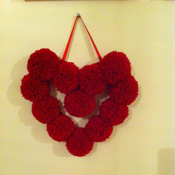 pompom heart, valentines heart