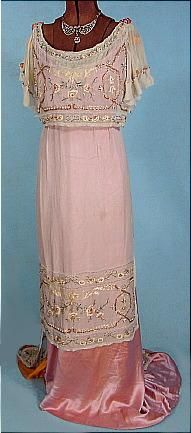 c. 1912 Edwardian Trained Silk Embroidered and Beaded Satin and Chiffon Evening Gown. Front