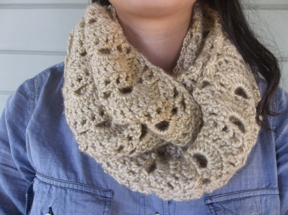 sunset pattern infinity scarf by Evelyn Mae Crochet - $40