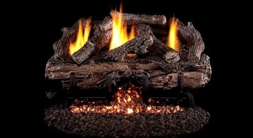 Real Fyre Charred Aged Split Oak Ventless Gas Logs Set with Variable Flame Remote Pilot Kit