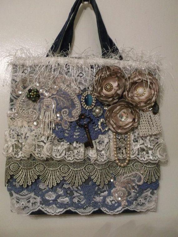 Altered Upcycled Denim Tote Bag Purse Hand Bag