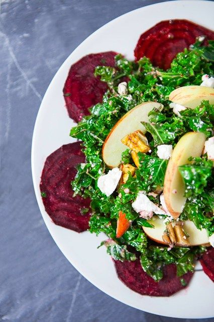 Quick Kale & Beetroot Salad 12 March 2014 Hemsley & Hemsley Team fruit and veg with a good cheese and a few cupboard essentials like oil, vinegar, nuts or seeds and you've got a healthy, tasty salad.