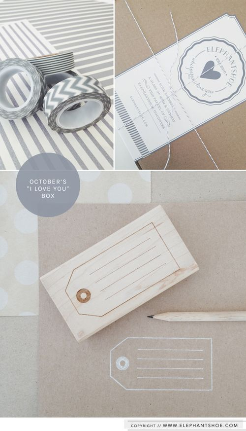 "Our maple wooden tag stamp and grey washi tape in our October ""I LOVE YOU"" box."