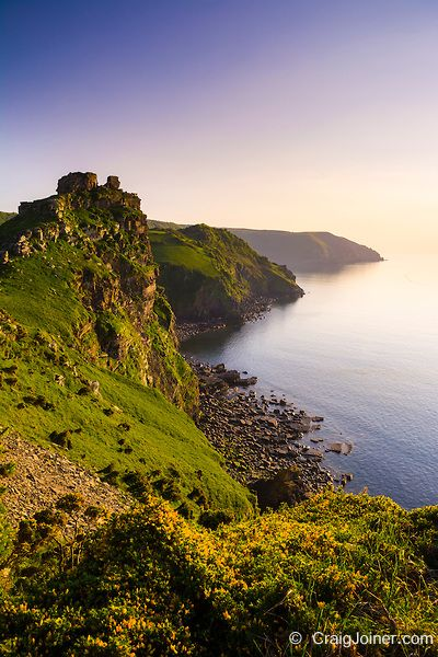 Valley of the Rocks and Wringcliff Bay at sunset in Exmoor National Park near Lynton, Devon, England.