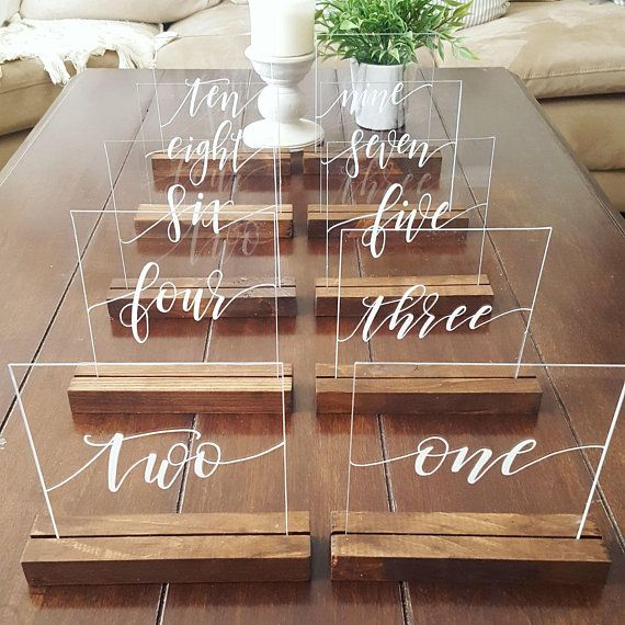 Shatter-proof and glare proof Acrylic table numbers with the option of wood stands. If you would like any customizations to the size or design, just let us know!  DIRECTIONS: If ordering more than one with different words, please select the total quantity and in the Note to Seller