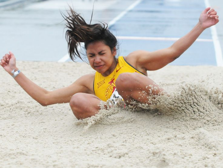 Iowa State's Jhoanmy Luque lands in the sand pit during the university women's long jump at the Drake Relays on Friday at Drake Stadium in Des Moines. Photo by Nirmalendu Majumdar/Ames Tribune http://www.amestrib.com/sports/drake-relays-isu-s-luque-takes-second-long-jump