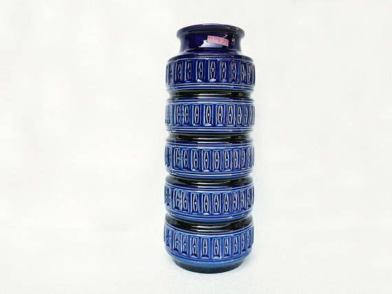 Grande vaso Scheurich blu elettrico con decorazione