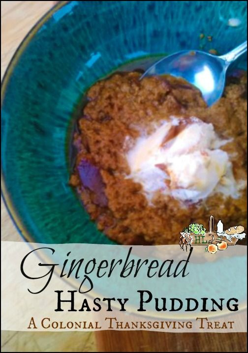 Try this Colonial Thanksgiving recipe for gingerbread hasty pudding! With wholesome grains, whole sugar and warm spices, this will be a Thanksgiving treat!