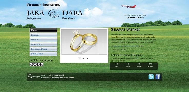 Template undangan pernikahan online tema Green Nature