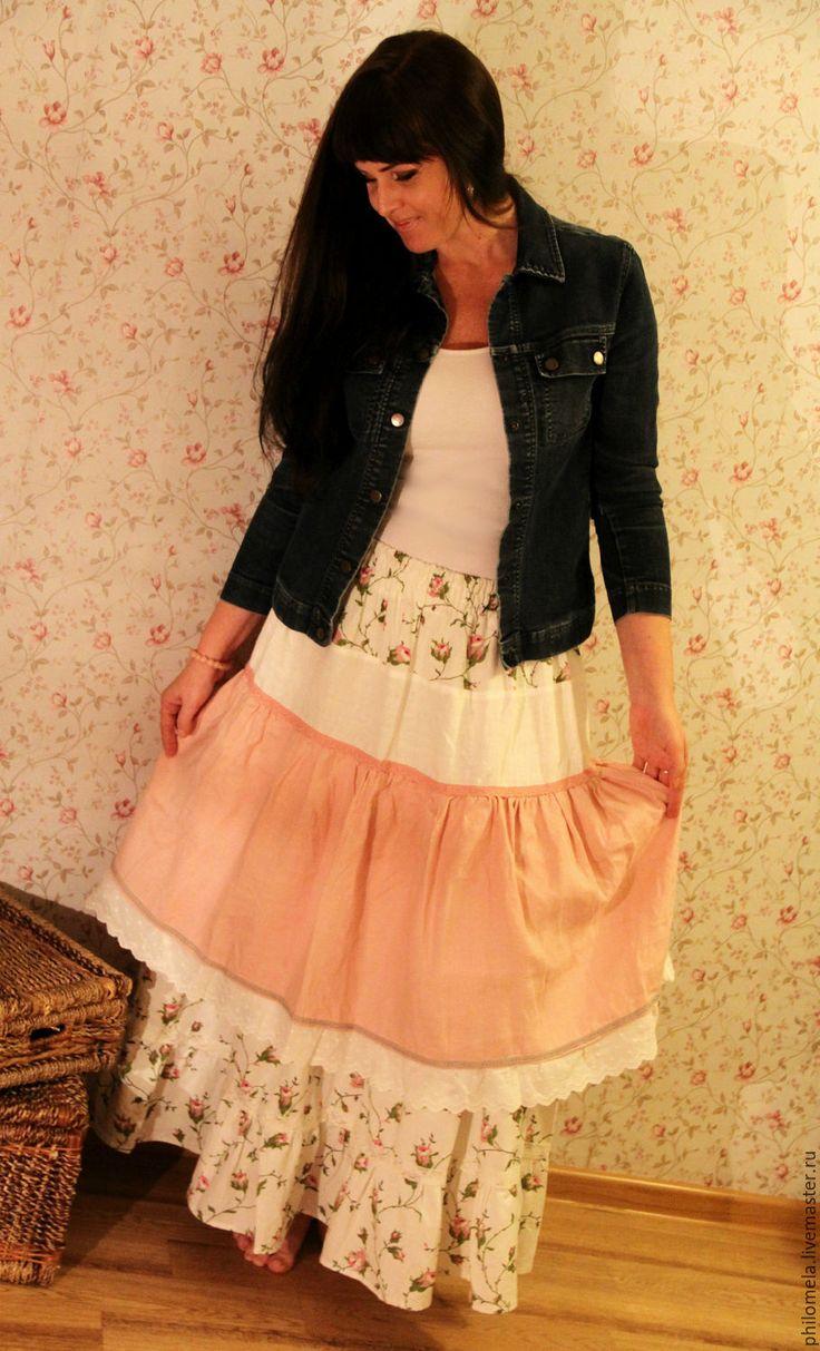 """Купить Юбка льняная длинная """"Дикий шиповник"""" - розовый, цветочный, юбка, белый…"""
