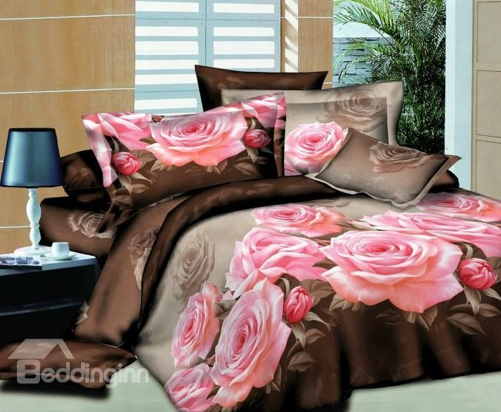 3D Rose Painting Twill Reactive Cotton Wedding 4 Piece