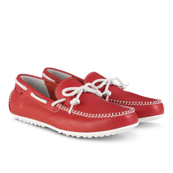 Men's red leather Grant LTE driving shoes from Cole Haan.