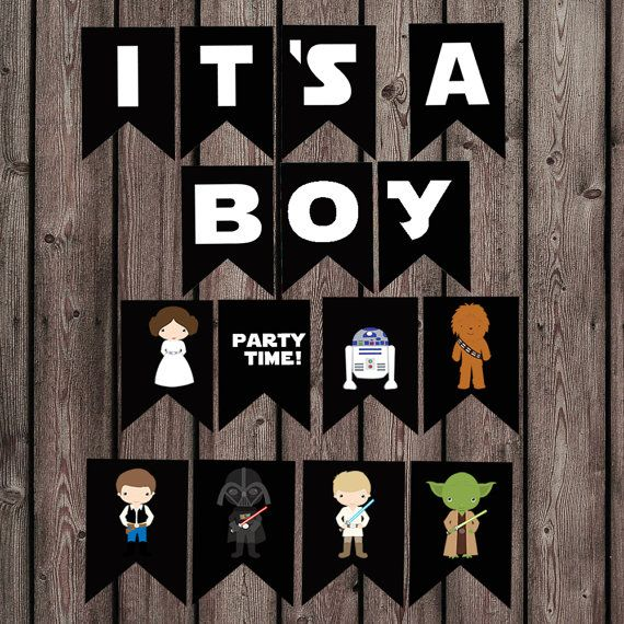 star wars baby shower banner its a boy banner por AmysDesignShoppe