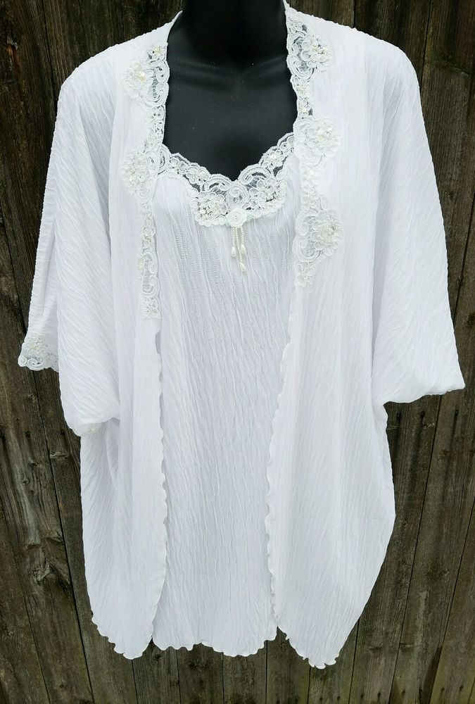 White Sz Large Wedding Night Lingerie Shadowline Nighty Robe Sequins Beads Sexy  #Shadowline #RobeGownSets
