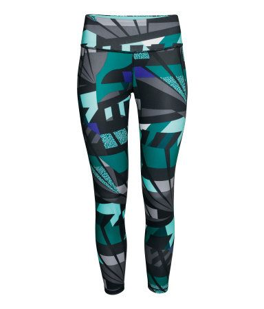 Ankle-length sports tights in fast-drying, functional fabric. Wide ribbing at waist with concealed mesh key pocket. | H&M Sport
