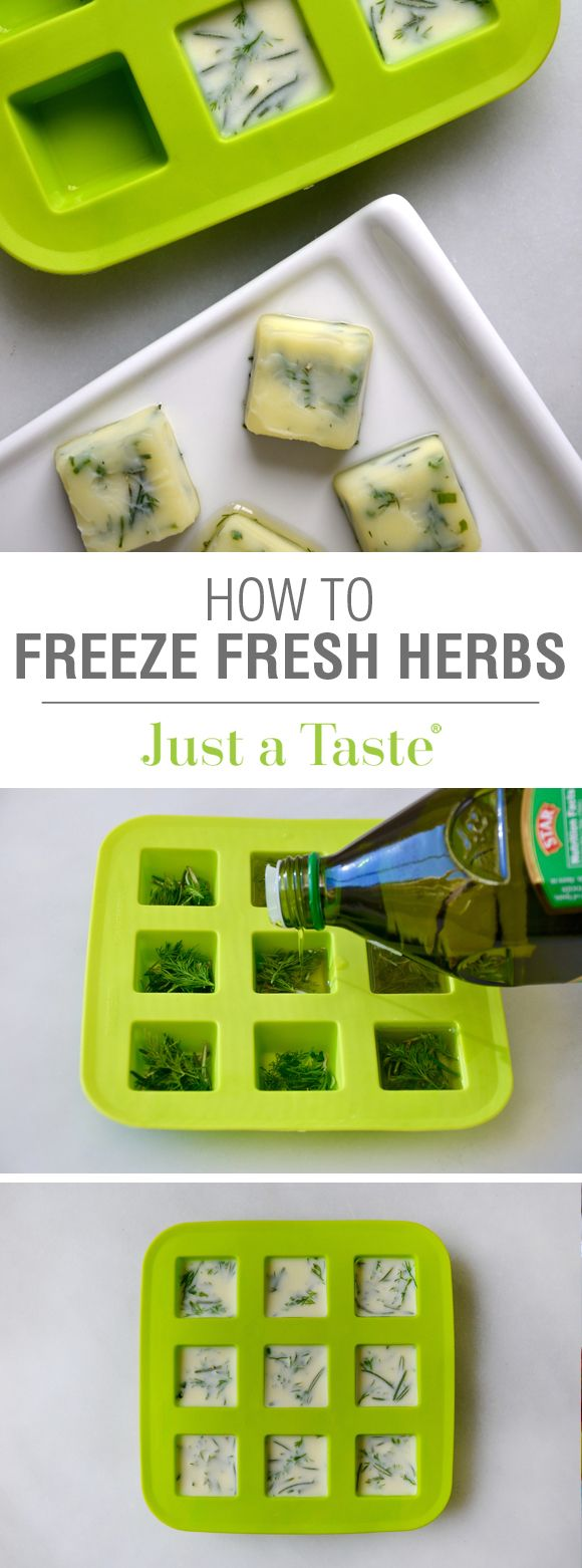 Kitchen Hack: How to Freeze Fresh Herbs from justataste.com #video #recipe #tips