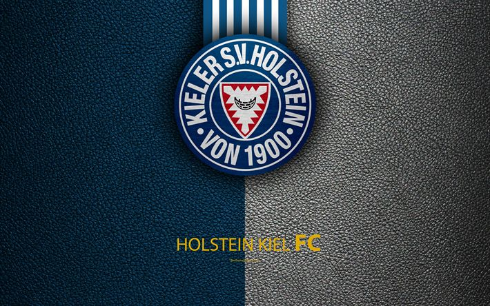 Download wallpapers Holstein Kiel FC, 4K, leather texture, German football club, Holstein logo, Kiel, Germany, Bundesliga 2, second division, football