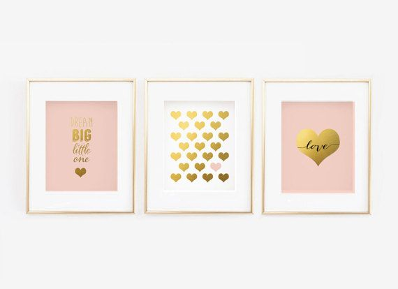 Blush Nursery Gallery Wall Set of 3 Faux Gold by StorybirdPrints...I am thinking getting white frame.