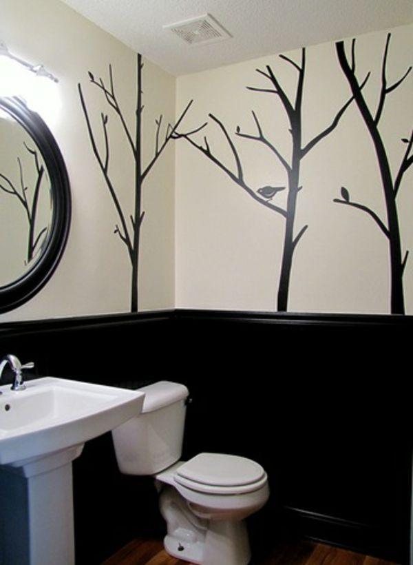 bäume anmalen als eine gute idee für wandgestaltung im badezimmer - 62 kreative Wände streichen Ideen – interessante Techniken