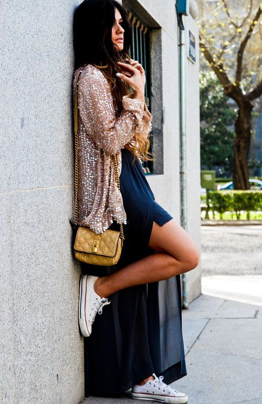 cute mix: Long Dresses, Sequins Cardigans, White Converse, Fashion Style, White Fashion, Outfit, Maxi Dresses And Conver, Fashion Pictures, Conver With Maxi Dresses