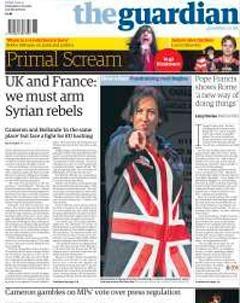 """Paris et Londres : """"Nous devons armer les rebelles syriens"""" - la une du Guardian ce matin"""