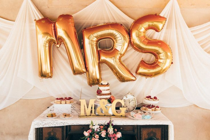 Sweets table with MRS backdrop | Hailley Howard Photography | http://mytrueblu.com/2016/03/30/backyard-bohemian-bridal-shower/
