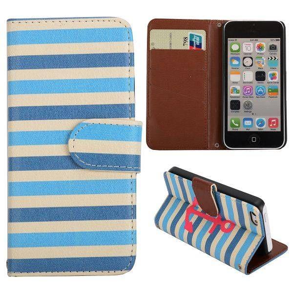 Anker met blauwe strepen bookcase voor iPhone 5 / 5S