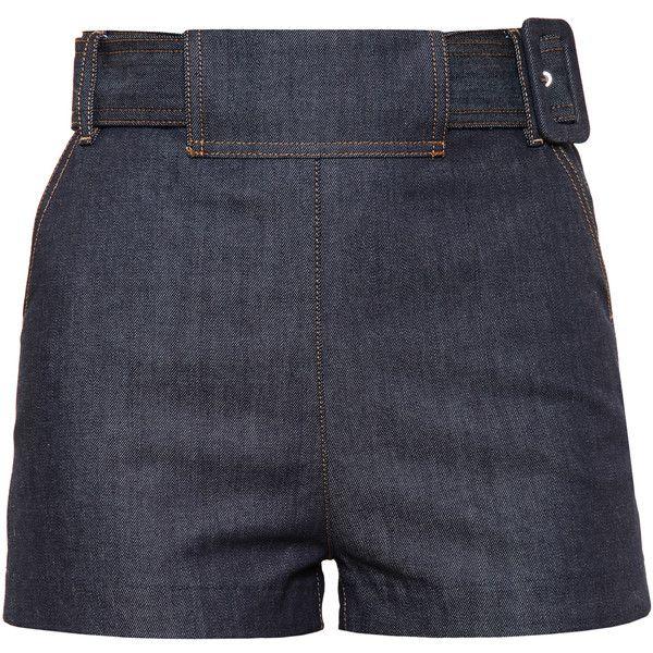 BALENCIAGA Belted Denim Shorts ($510) ❤ liked on Polyvore featuring shorts, bottoms, sortsit, short, pantaloni, high-waisted denim shorts, short jean shorts, highwaist shorts, high waisted short shorts and high rise shorts