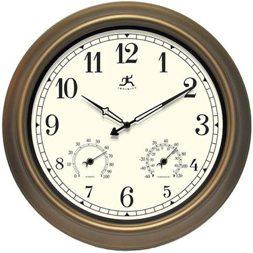 The Craftsman from Infinity Instruments is a traditional style indoor/outdoor wall clock. This clock combines with a thermometer and hygrometer to create the perfect timepiece for any backyard or patio, and the large Arabic Standard numerals allow you to read it from far away. With the bronze-finished steel case and black hands, this beautiful crafted clock will look great in any outdoor setting.