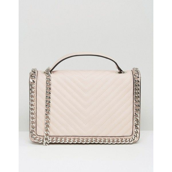 ALDO Chevron Chain Detail Shoulder Bag In Blush (424110 PYG) ❤ liked on Polyvore featuring bags, handbags, shoulder bags, pink, aldo handbags, pink handbags, quilted purses, quilted handbags and chain handle handbags