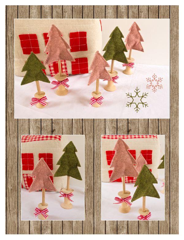 """The 3 Little Pigs """"dam"""" made stories: Christmas felt trees https://www.facebook.com/The3LittlePigs"""