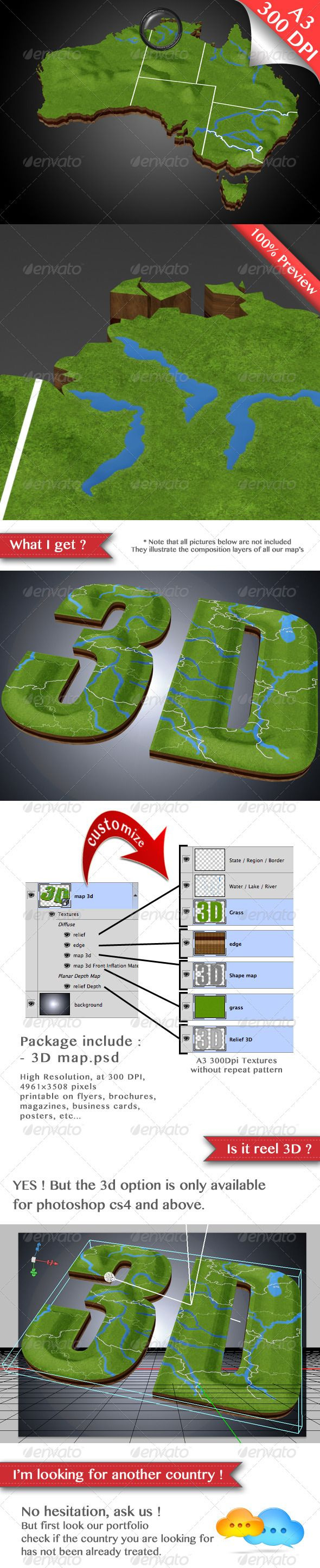 Australia - Real 3D Map + River, Mountain, States.  #GraphicRiver        Australia – Real 3D Map + rivers, lakes, mountains, states, regions, borders.  Description  With the new 3d functionality of photoshop CS4 and +, you can orient your map in any direction! Place the map in the best way possible to show your branch, journey, implantation, etc, in a simple and original way! Make your presentation and brochure attractive, this map is ideal for professional print and web graphics…