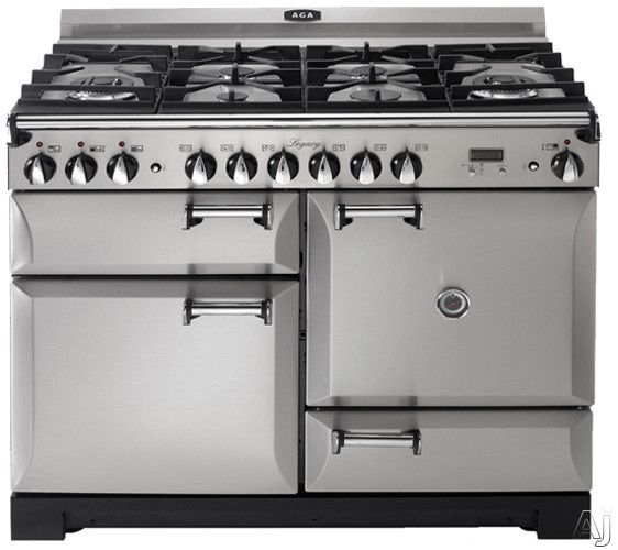 """AGA ALEGS44DFSS 44"""" Pro-Style Dual Fuel Range with 2.4 cu. ft. Convection Oven, 2.2 cu. ft. 7-Mode Multifunction Oven, Broiling Oven, Manual Clean and Storage Drawer: Stainless Steel"""