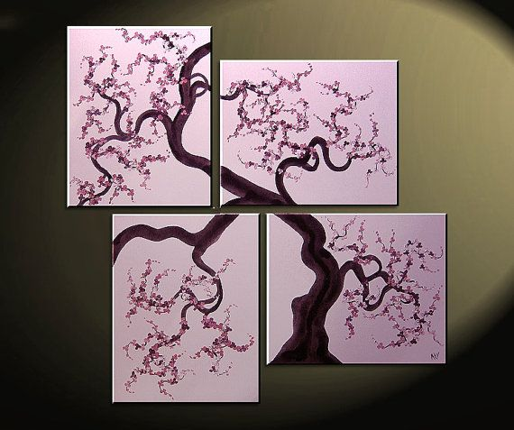 """""""Cherry Blossom Tree""""  is the title of this beautiful painting.  The background is painted in white slightly textured brush strokes and the more heavily textured blossoms are in shades of pinks, (some are almost white) to dark purples.    This painting is ready to mail out right away.    The painting measures 47"""" wide by 41"""" tall over four stretched 16x20 canvases (this also includes a 1"""" space between each canvas). The blossoms stand out (impasto texture) and give the painting texture and…"""