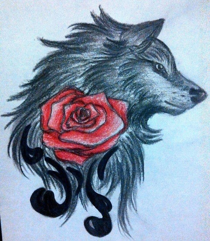 показать открытку волка с розой кухне