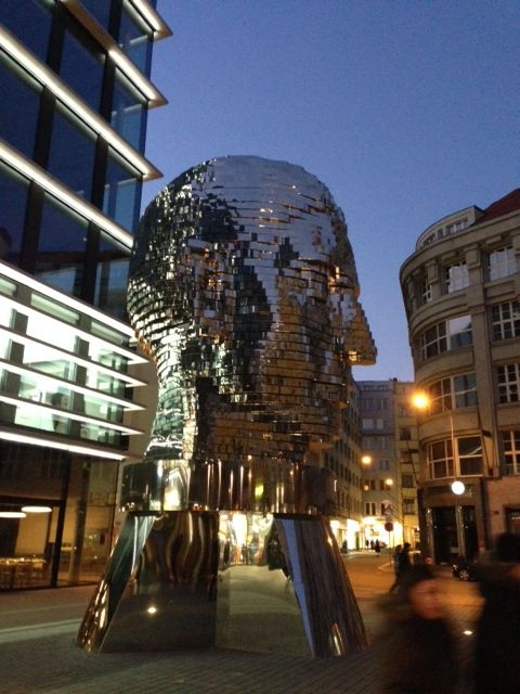 Rotating gigantic head of Franz Kafka in Prague