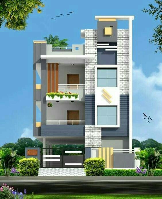 Modern Home Elevation Designs: 27*38 North Face G+2 Front Elevation Design..