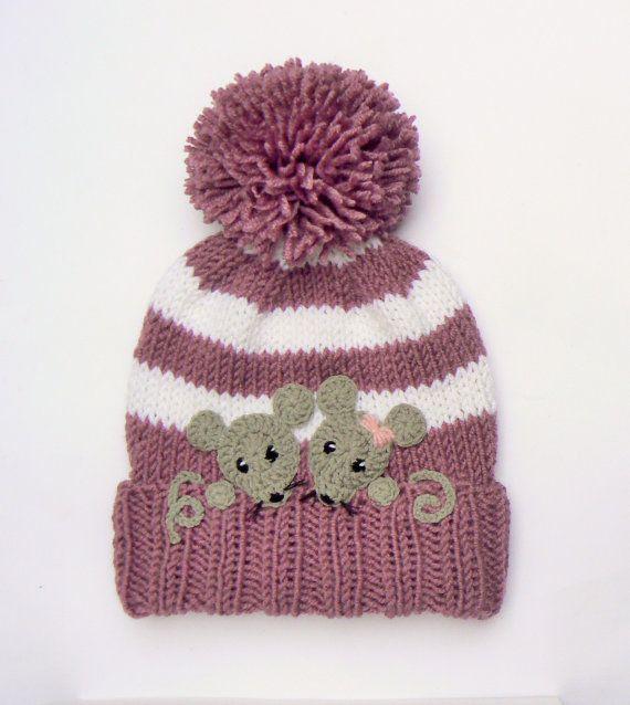 Articles similaires à Tricoter les filles chapeau, chapeau d'hiver pour enfant, bonnet, chapeau de souris, chapeau enfant en bas âge, bébé hiver Pom Pom chapeau, chapeau rayé, filles tenue, chapeau, chapeau Animal sur Etsy