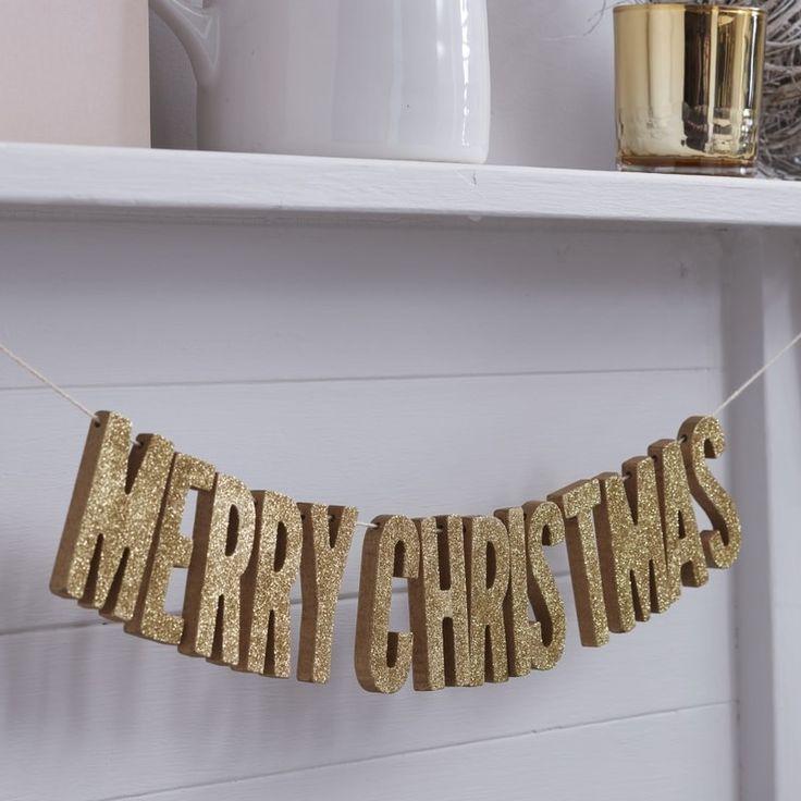 Merry Christmas Gold Glitter Wooden Bunting - Christmas Metallics