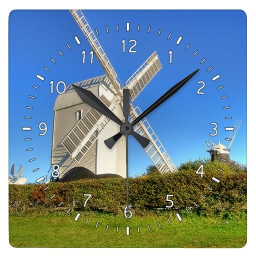 "Jack & Jill Wall Clock :- These are the famous Clayton Windmills. They are known affectionately as Jack and Jill. They stand on top of the South Downs near the village of Clayton in West Sussex, England. They are Grade II listed buildings. Jack had a starring role alongside Michael Caine in the 1974 film ""The Black Windmill"". #jack #jill #windmill #windmills #historic #england #twins #corn #flour #bread #grind #sussex #nature #rural #counrtyside #fineart"