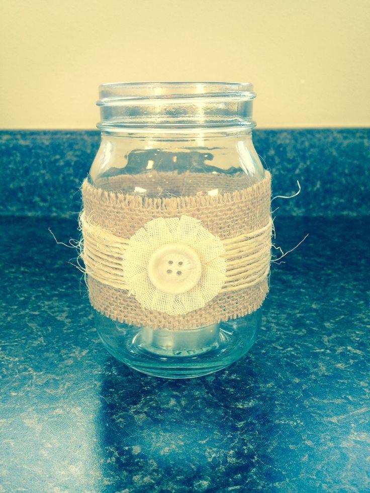 Mason jar candle holder. Nifty thing my sister made. #burlapandlace #yesimhastaggingonpinteresteventhoughitdoesntdoanything