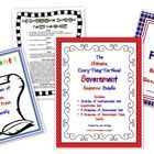 There are 216 pages in this resource bundle:  Articles of Confederation Unit, Constitution Unit, 3 Branches of Government Unit, and an additional 3 Branches of Government flashcard activity pack. It is a compilation of my individual units and is a real savings when purchased together. There are numerous activities, worksheets, handouts, mini-posters, games, graphic organizers, word walls/vocabulary, and answer keys. $