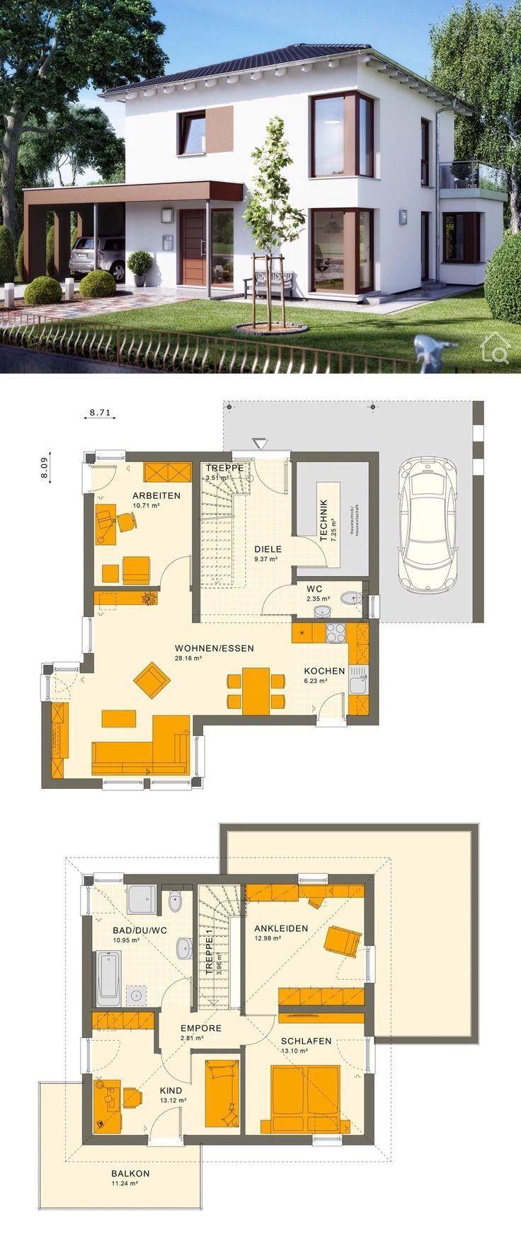 Stadtvilla Modern Mit Walmdach Carport Garage 5 Zimmer Grundriss 113 Qm Haus Bauen Ideen Fertighaus Stadtvill Stadtvilla Haus Grundriss Hausbau Grundriss