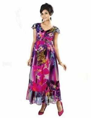 Multi-coloured Maxi Maternity Dress. Be party perfect with your baby bump. Great as an evening wear or even casual wear with a denim jacket or cardigan.
