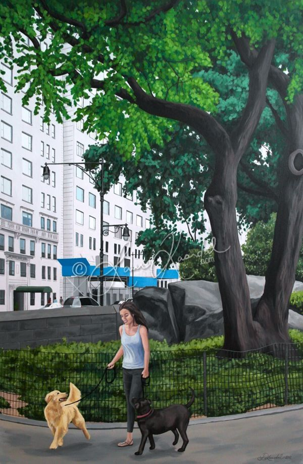 A Walk in Central Park, NYC by Laura Kaardal, Acrylic on Canvas