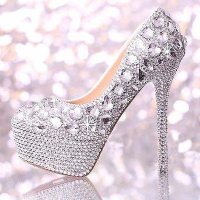 Brilhantes prata feitos à mão diamante grânulo Rhinestone casamento Bridal tênis saltos
