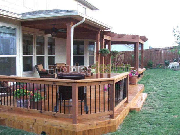 Valla de madera terraza ideas para desayunador exterior for Porche jardin madera