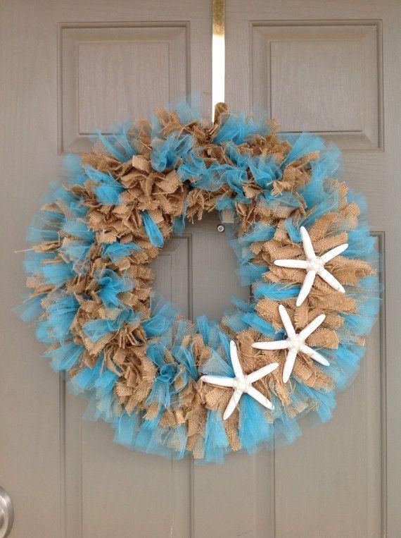 Beach Themed Burlap Wreath Mom Amp Dad S 50th Pinterest