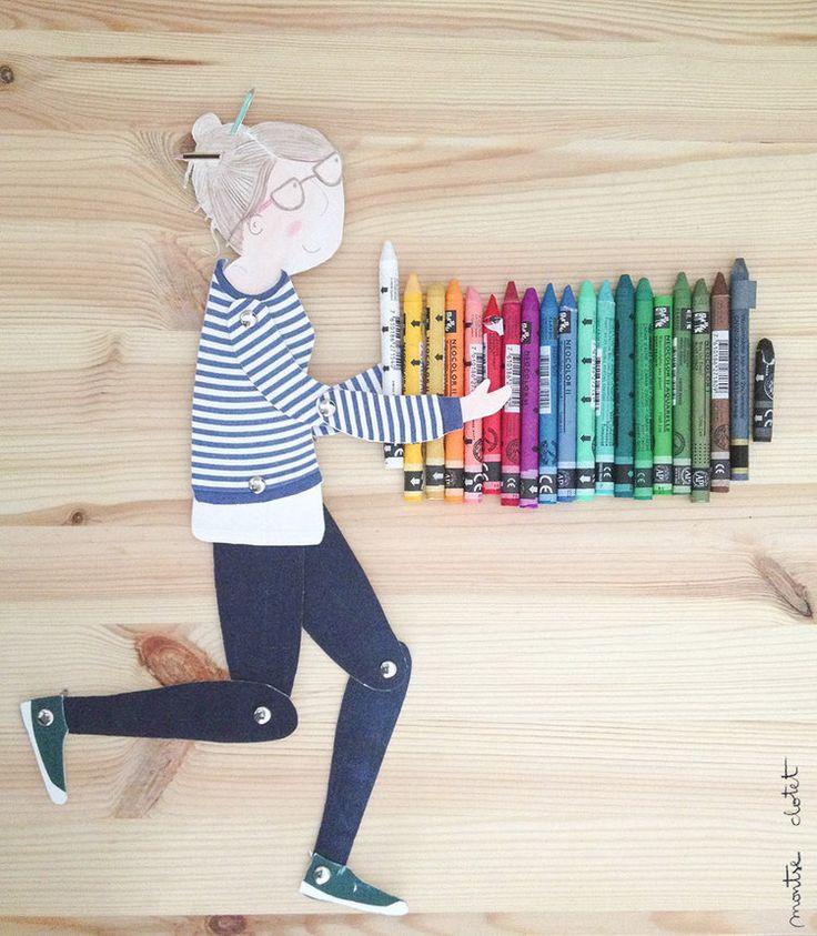 Puppet, handmade toys, illustration, handmade puppet, DIY, childhood, illustration for children, neocolor, crayons, stripes shirt, GIF — montse clotet